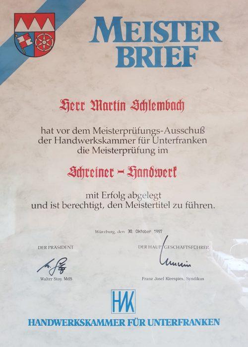Meisterbrief Schreiner-Handwerk